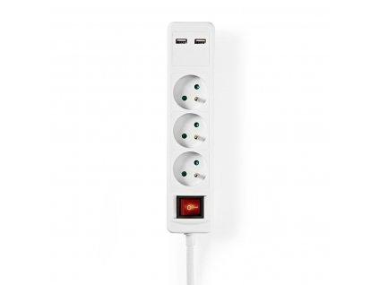 Nedis EXSO315UESWT prodlužovací kabel 1.5 m, 3 zásuvky s vypínačem, 2x USB, bílá