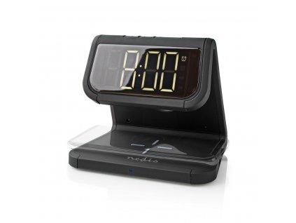 Nedis WCACQ10W1BK bezdrátová nabíječka mobilu, Qi certifikace, barevná noční LED lampička, černá