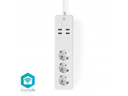 Nedis SmartLife chytrá prodlužovací lišta, 3x Schuko, 4x USB, 16 A (WIFIP311FWT)