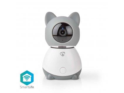Nedis SmartLife chytrá chůvička/IP kamera, Full HD 1080p, otáčení a náklon, automatické sledování, klima senzor, ukolébavka  (WIFICI30CGY)