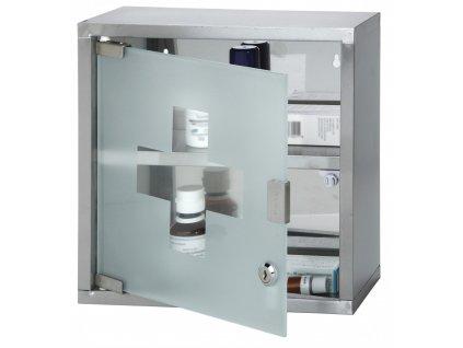 Nástěnná lékárnička nerez/sklo prázdná (30x12x30 cm)