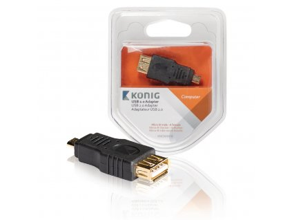 Adaptér USB 2.0 Micro B Zástrčka - USB A Zásuvka Antracit
