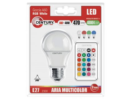 Century LED žárovka E27 6W 470lm 4000K RGB s dálkovým ovladačem (G3RGBW-062740)