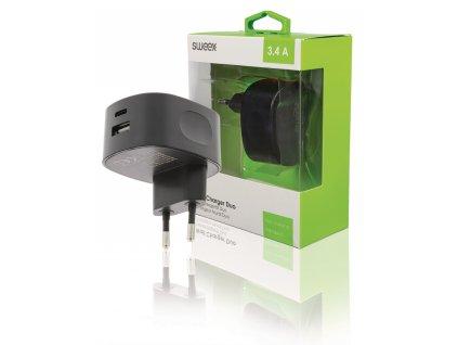 Duální napájecí adaptér 3.4 A USB + USB-C černý CH-002BL