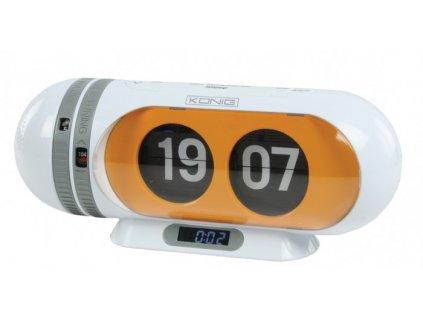 Konig HAVCR25 radiobudík s překlápěcími hodinami, oranžový