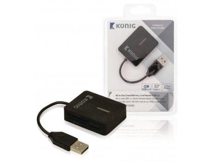 Čtečka paměťových karet multiformátová USB 2.0, König CSU2TCR100BL