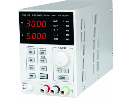 Laboratorní napájecí zdroj, 4 pam.,1 kanál, 0÷30 VDC, 0÷5 A, RND320-KA3005D
