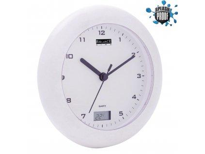 Koupelnové nástěnné hodiny 17 cm s teploměrem, Balance 506271