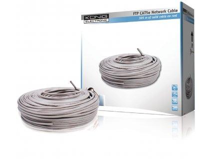 König CMP-FTP5R305S měděný stíněný síťový kabel F/UTP Cat5E drát šedý, 305 m