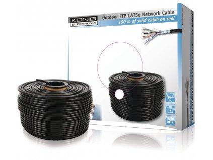 König CMP-OFTP5R100S měděný stíněný síťový kabel F/UTP Cat5E drát černý, 100 m