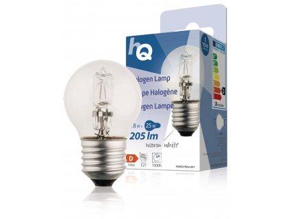HQ halogenová žárovka E27 mini globe 230V 18W 205lm 2800K, HQHE27BALL001