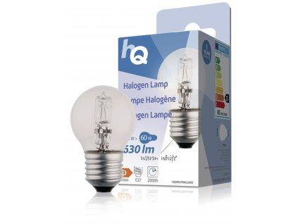 HQ halogenová žárovka E27 mini globe 230V 42W 630lm 2800K, HQHE27BALL003