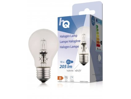 HQ halogenová žárovka E27 A55 230V 18W 205lm 2800K, HQHE27CLAS001