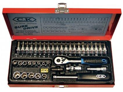 C.K profi sada bitů a nástrčných klíčů 39 ks s ráčnovým šroubovákem, CK-4655
