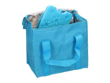 Chladicí taška modrá (objem 7l) a velká chladicí vložka (350 ml)