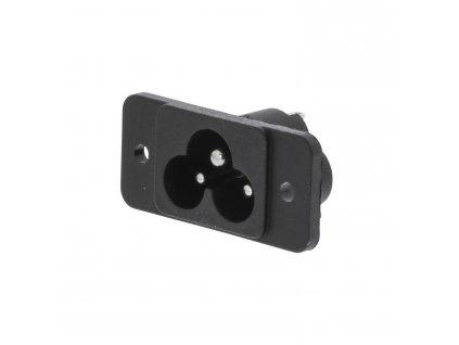 Konektor napájecí síťový 230 V IEC-320-C6 mickey mouse panelová zástrčka černá (VLEP11952B)