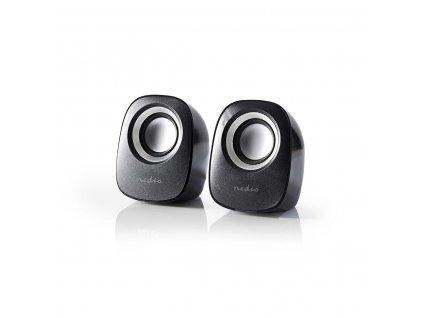 Nedis CSPR10020BK stereo reproduktory 4W, USB, jack 3.5mm, černá/stříbrná