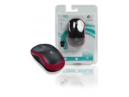 Logitech M185R bezdrátová myš 800 dpi, červená