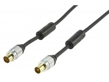 HQ anténní kabel 90 dB zástrčka Coax - zásuvka Coax, 2.5 m, černá (HQSS5015/2.5)