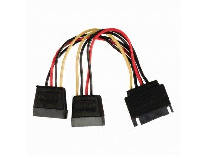 Nedis interní napájecí kabel zástrčka SATA 15-pin - zásuvka 2x SATA 15-pin, 0.15 m (CCGP73190VA015)