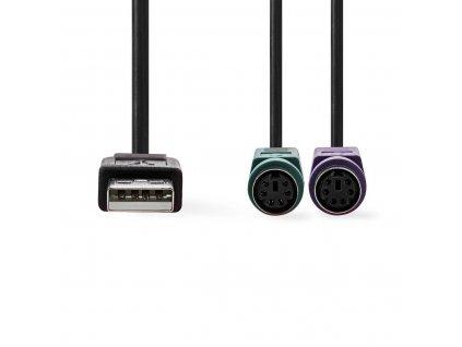 Nedis CCGP60830BK03 adaptér USB – PS/2 pro myš a klávesnici, zástrčka USB A - 2x zásuvka PS/2, kabel 0.3 m