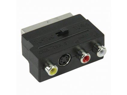 Nedis přepínatelný adaptér zástrčka SCART - zásuvka S-Video + 3x CINCH, černá (CVGP31902BK)