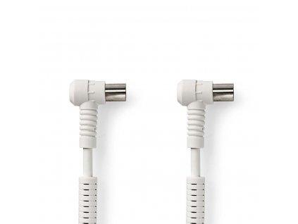 Nedis anténní kabel 100 dB úhlová zástrčka Coax - úhlová zásuvka Coax, 1.5 m, bílá (CSGP40110WT15)