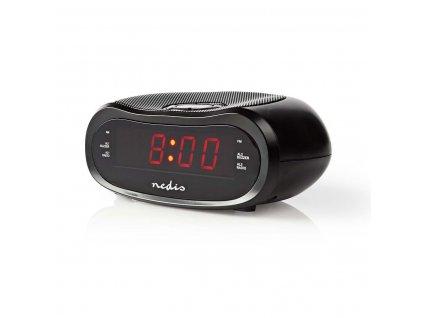 """Nedis CLAR001BK radiobudík, 0.6"""" LED displej, FM rádio 20 předvoleb, duální budík"""