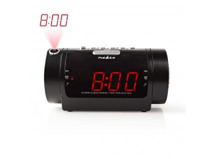 "Nedis CLAR005BK radiobudík s projekcí času, 0.9"" LED displej, FM rádio, duální budík"