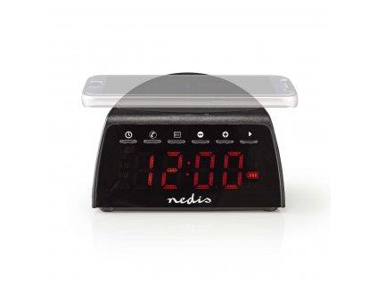 Nedis CLAR006BK radiobudík s bezdrátovou dobíječkou mobilu, Bluetooth, AUX