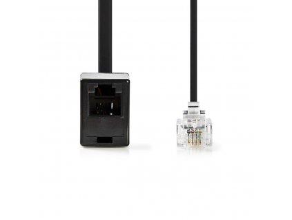 Nedis telefonní prodlužovací kabel zástrčka RJ11 zástrčka - zásuvka RJ11, 10 m, černý (TCGP90205BK100)