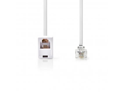 Nedis telefonní prodlužovací kabel zástrčka RJ11 zástrčka - zásuvka RJ11, 10 m, bílý (TCGP90205WT100)