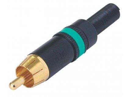 Neutrik NYS373-5 konektor CINCH zástrčka kovová, zelený kroužek