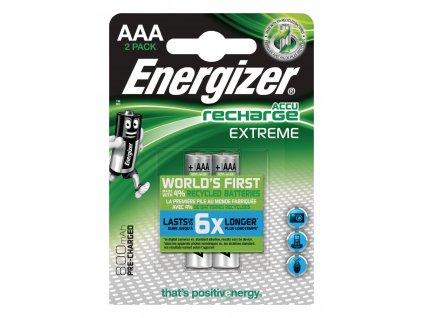 Nabíjecí baterie Energizer Extreme NiMH AAA 1.2V 800mAh - 2ks, EN-EXTRE800B2