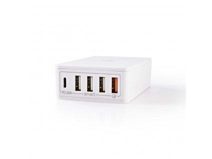 Nedis WCPD30W120WT 60 W USB nabíjecí adaptér 3 A / USB Quick Charge / USB Smart Charge / USB-C PD / bílá