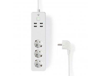 Nedis SmartLife chytrá prodlužovací lišta, 3x Schuko, 4x USB, 16 A (WIFIP310FWT)
