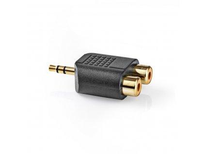 Adaptér Jack 3.5mm stereo zástrčka - 2x CINCH zásuvka, zlacený, 10 ks (CAGP22940BKG)