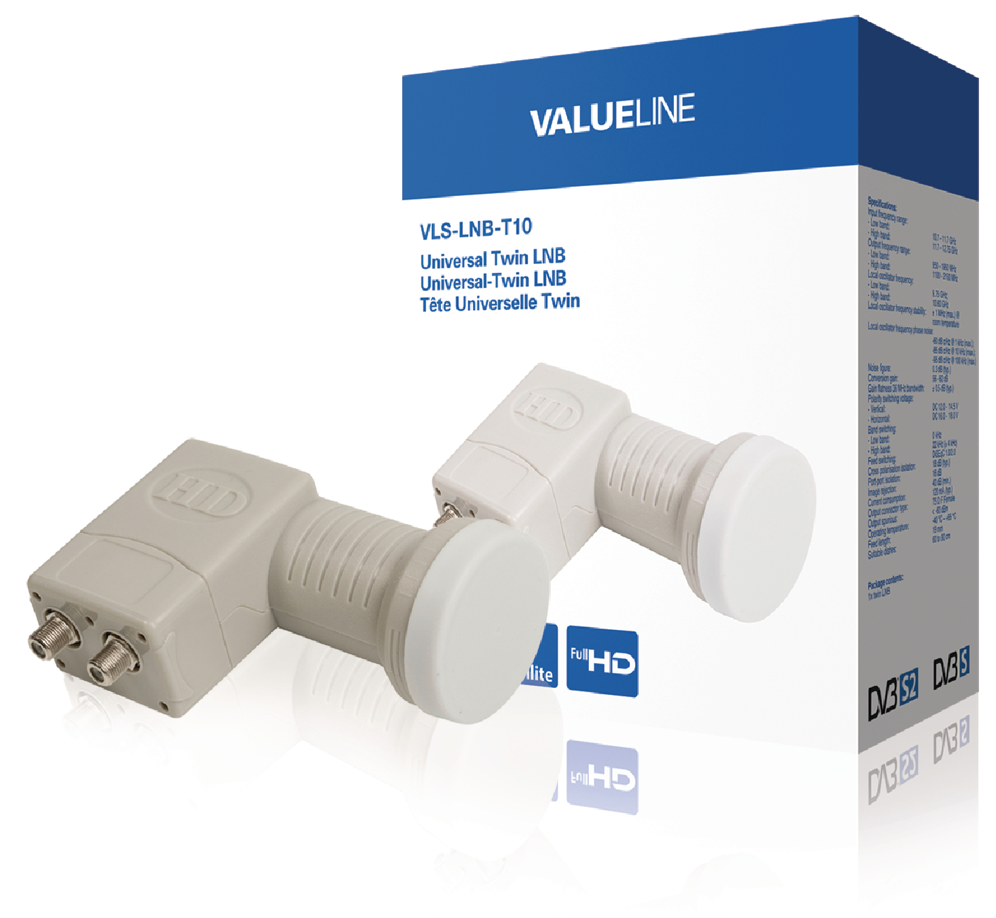 Univerzální LNB Twin 0.3 dB, Valueline VLS-LNB-T10