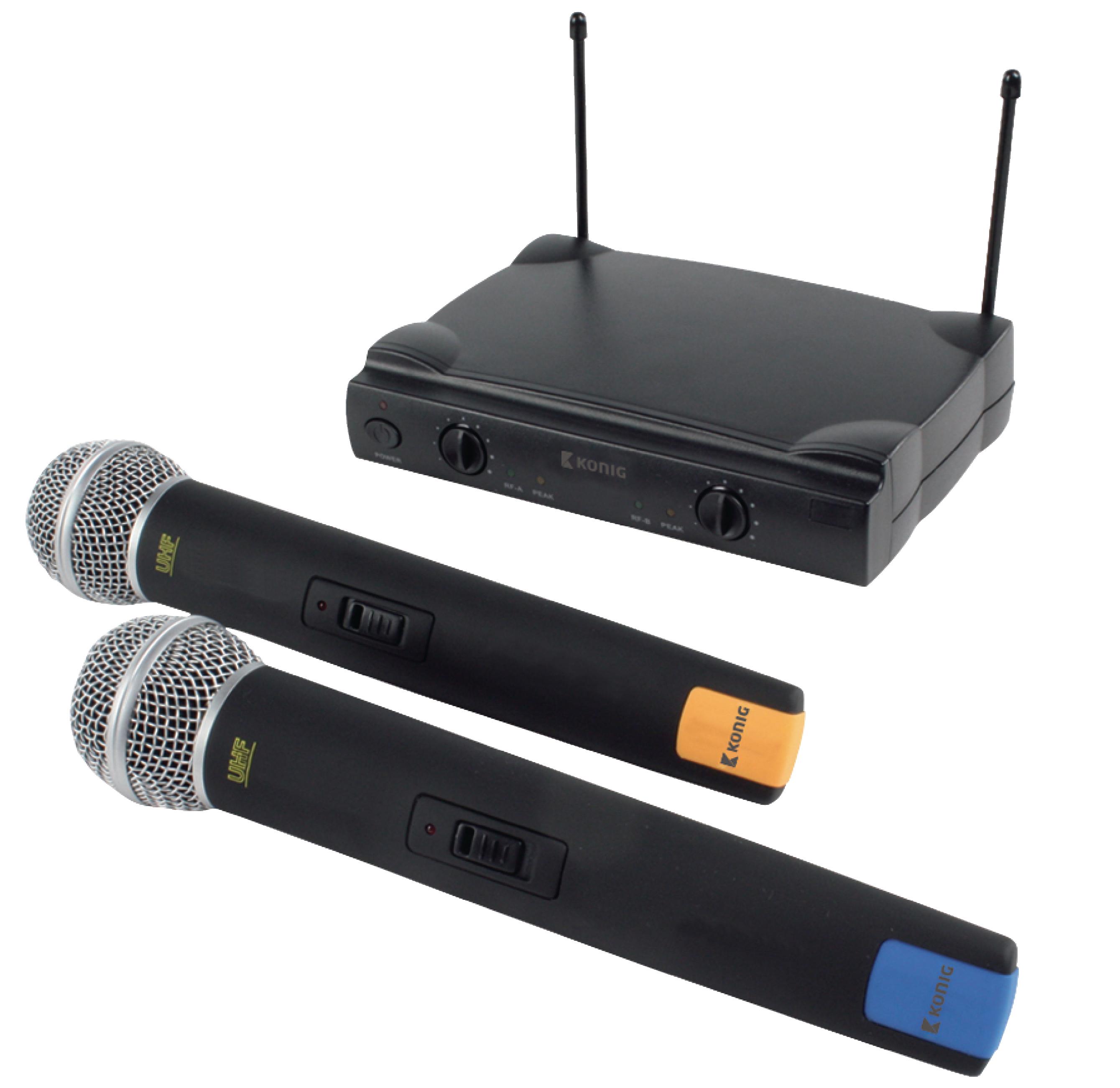 2 kanálový bezdrátový mikrofonní systém se dvěma mikrofony, König KN-MICW611