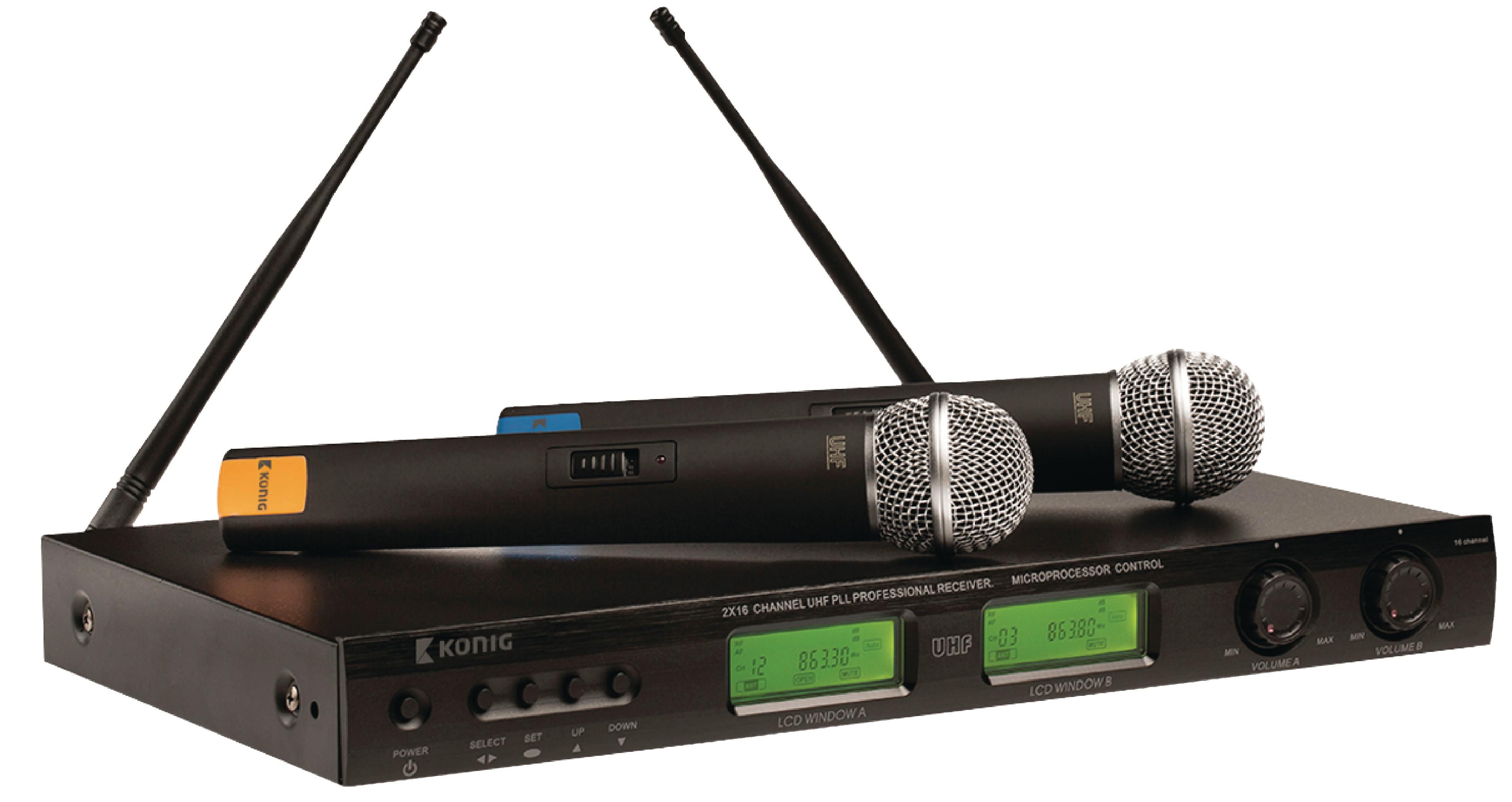 16 kanálový bezdrátový mikrofonní systém se dvěma mikrofony, König KN-MICW621