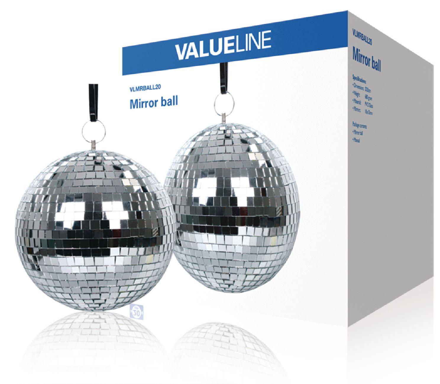 Zrcadlová disco koule 20 cm Valueline VLMRBALL20