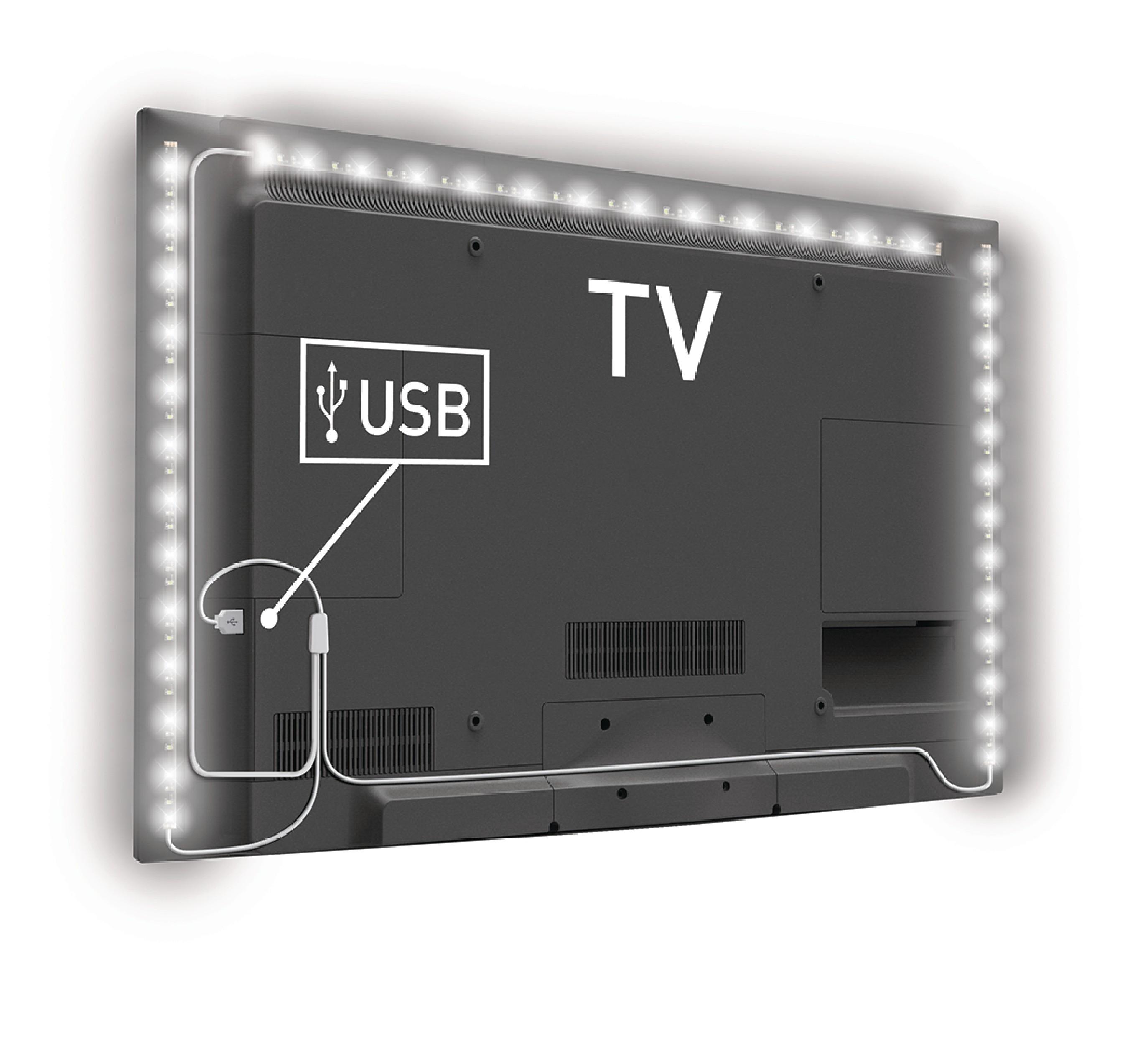 König USB LED pásek za TV, 2x 45 cm + 1x 90 cm, studená bílá König KNM-ML3WD