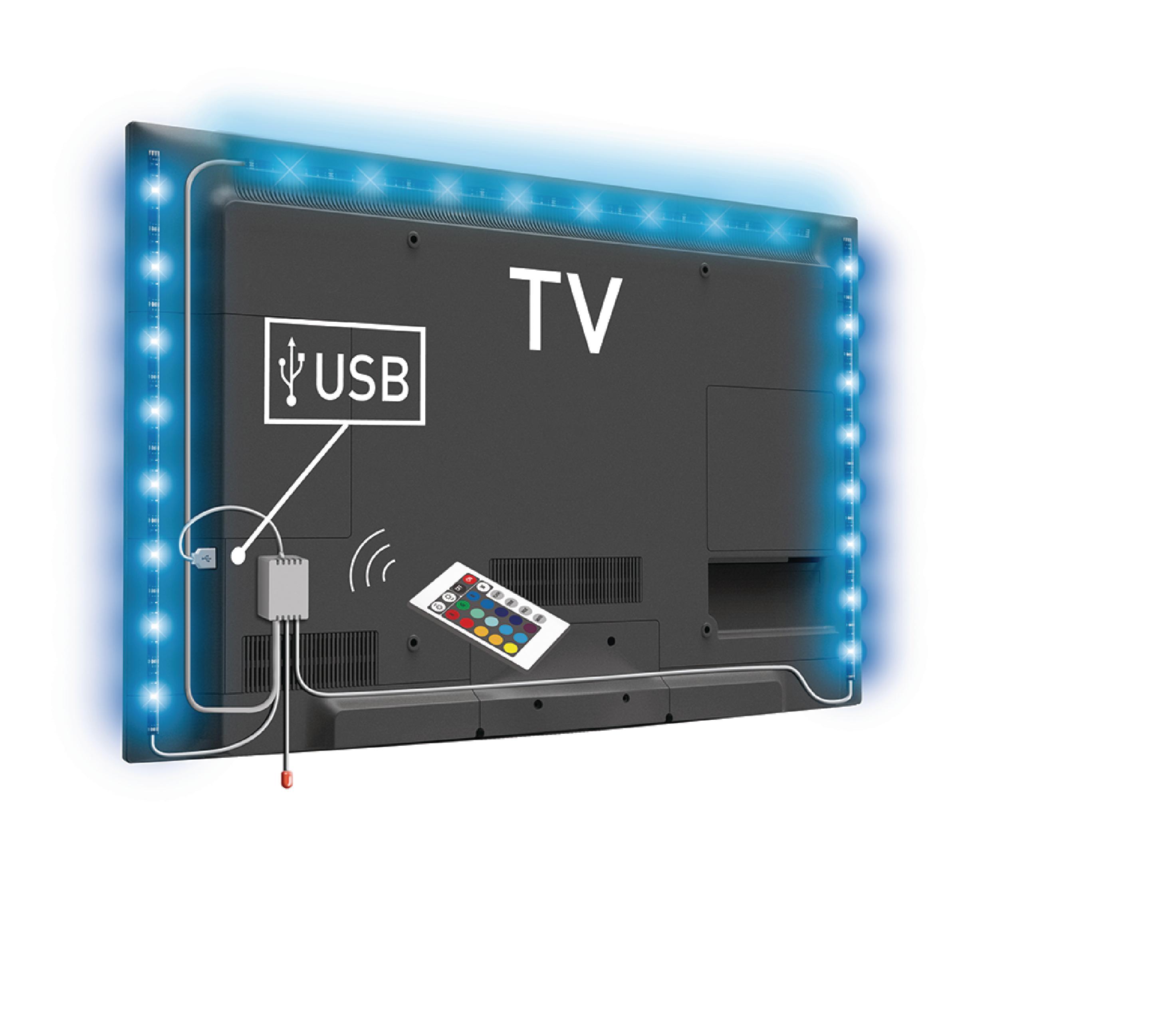 König USB LED pásek za TV, 2x 50 cm + 1x 90 cm, RGB, stmívatelný König KNM-ML3RGBD