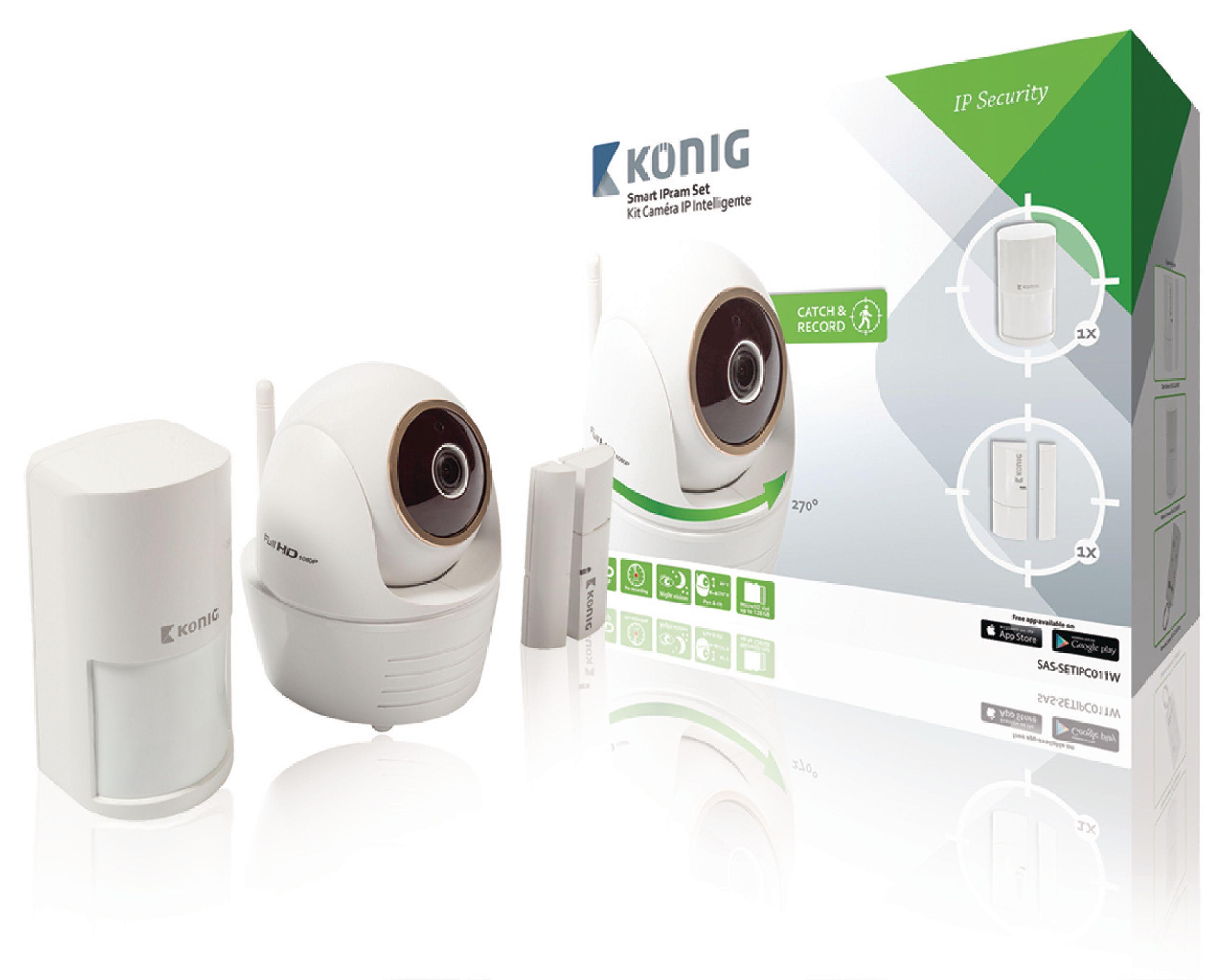 Bezdrátová natáčecí Full HD IP kamera se 2 externími senzory König SAS-SETIPC011W