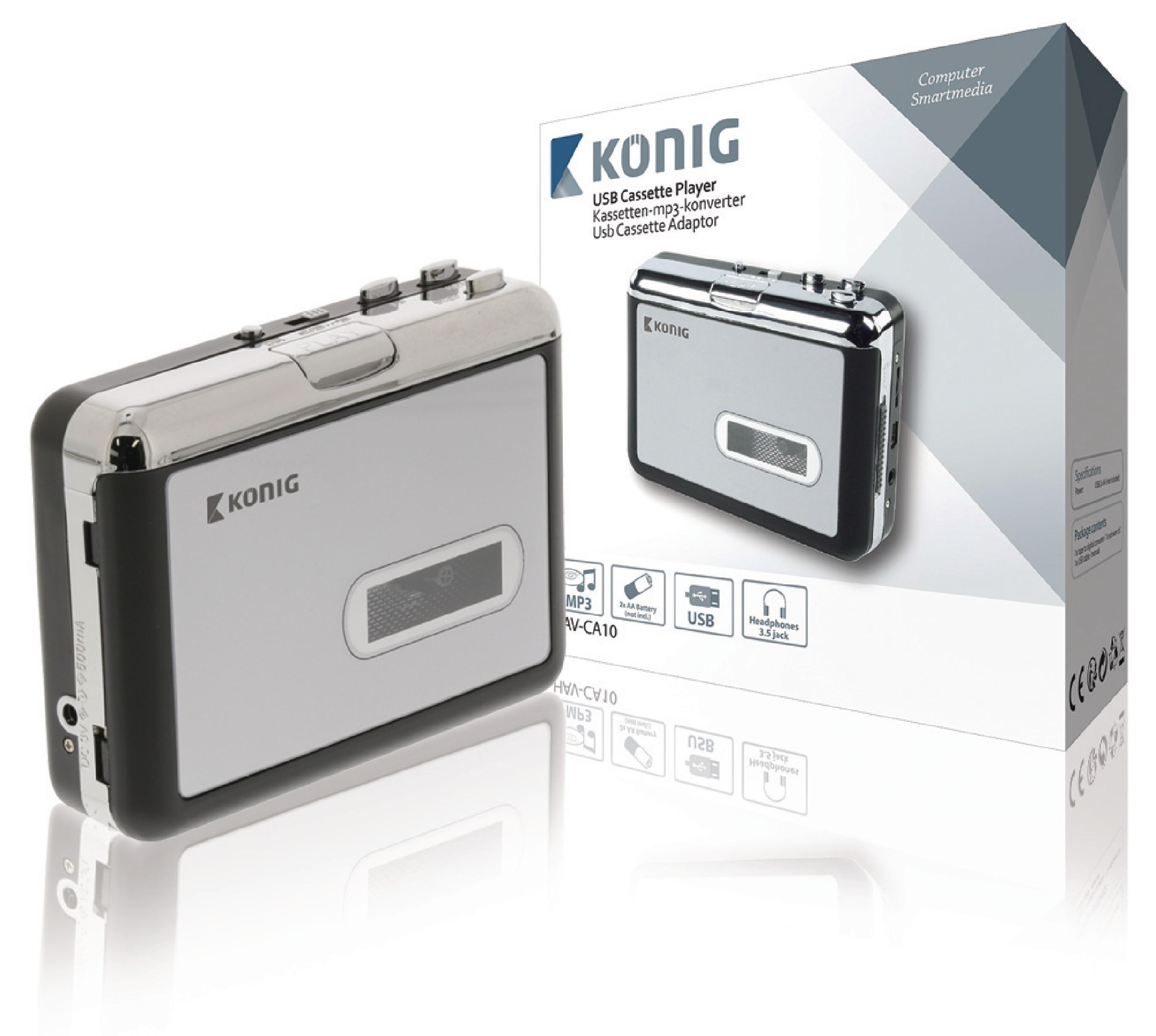 Kazetový přehrávač s USB, MP3 konvertor König HAV-CA10