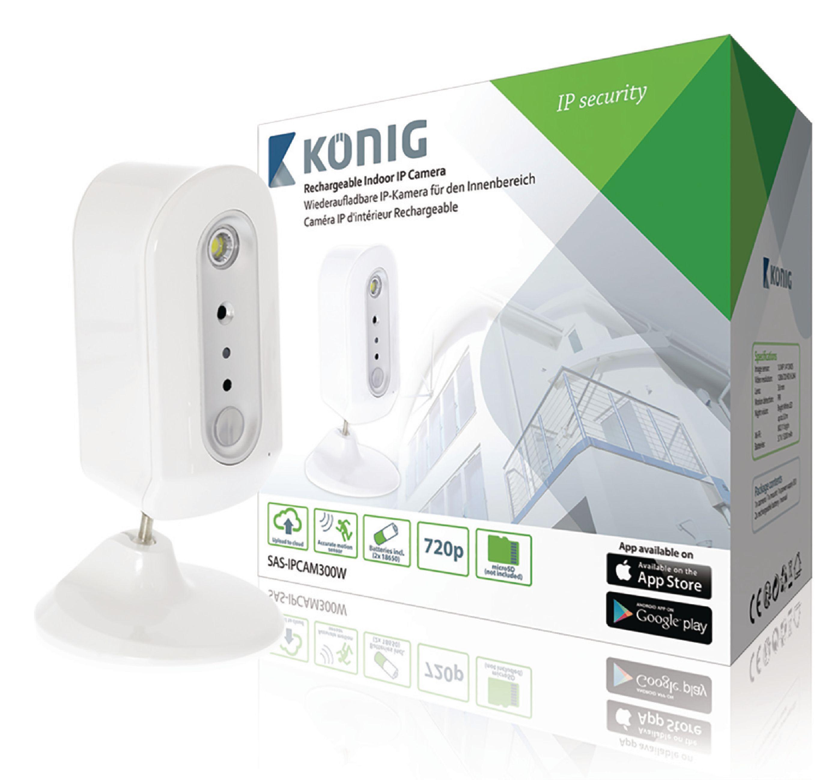 Bezdrátová nabíjecí IP kamera König SAS-IPCAM300W