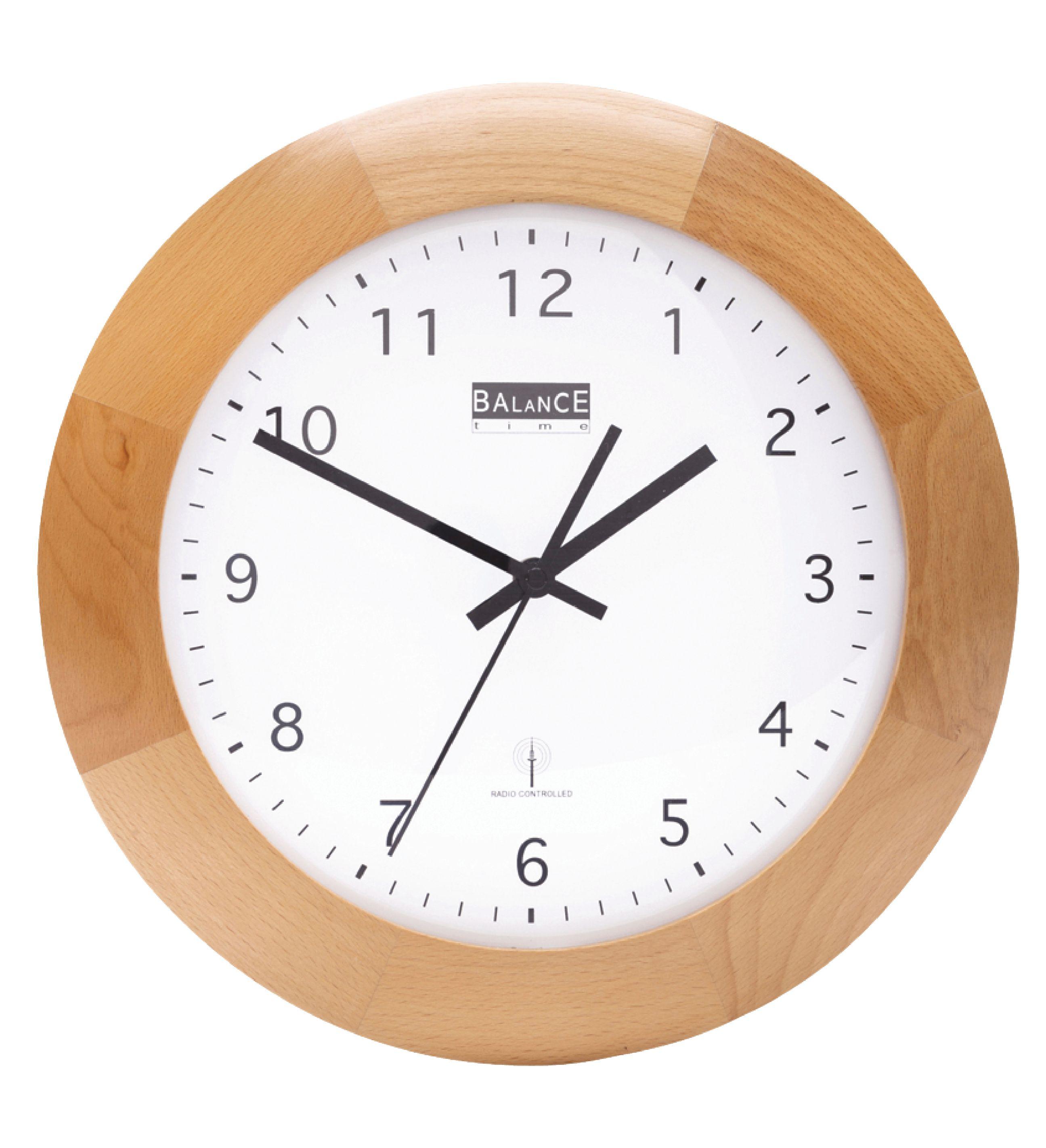 Rádiem řízené dřevěné nástěnné hodiny 32 cm Balance 506452