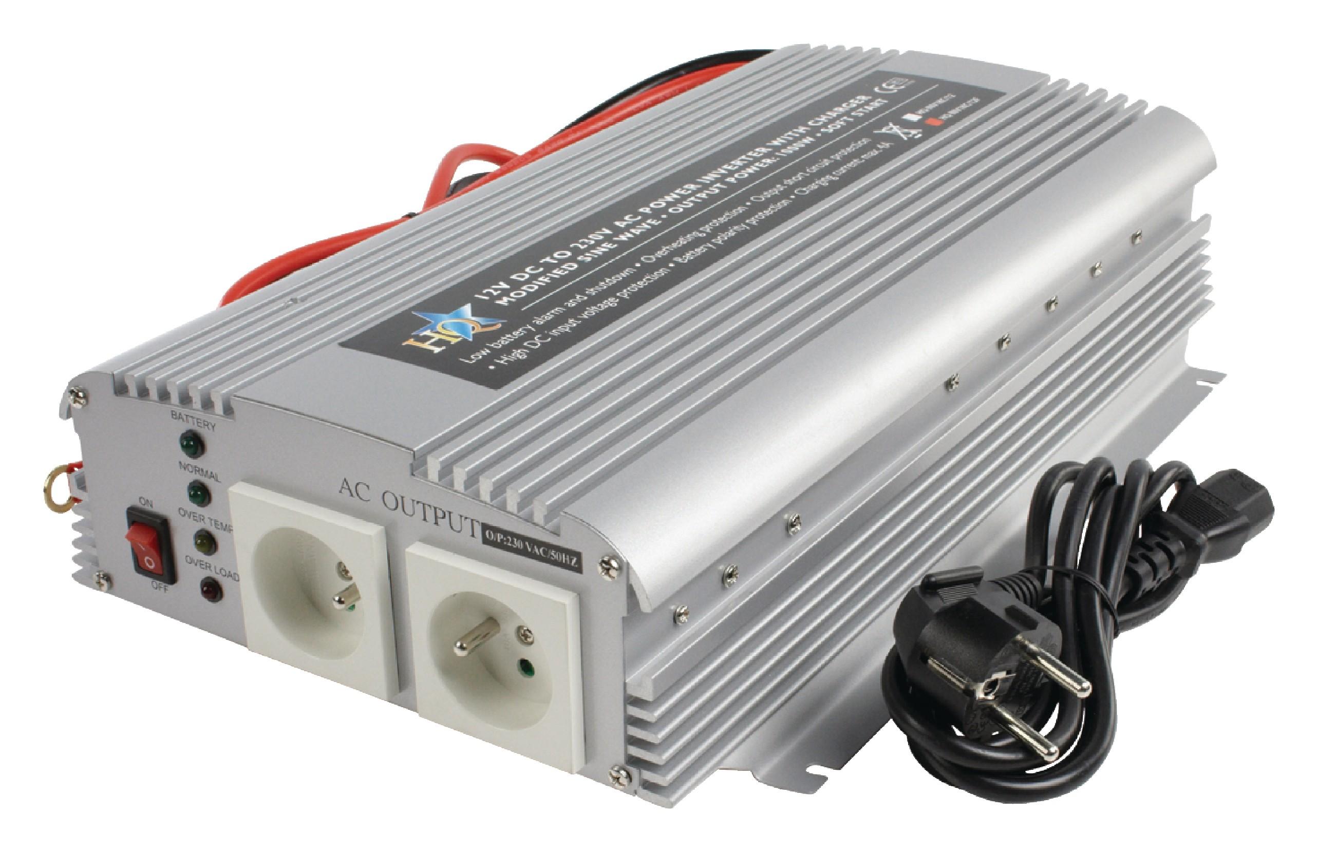 Měnič napětí 12 V na 230 V, 1000 W s funkcí UPS, CZ zásuvky, HQ-INV1KC/12F