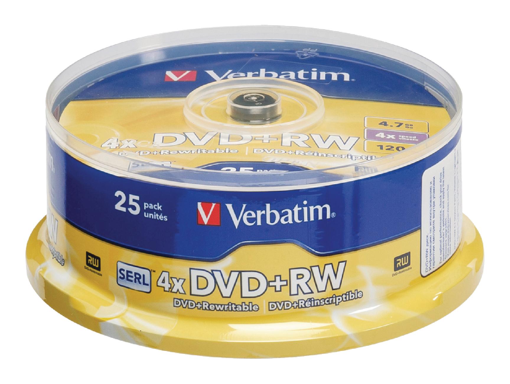 DVD+RW Verbatim 4.7 GB, 25ks-cake, DVDVER00075B