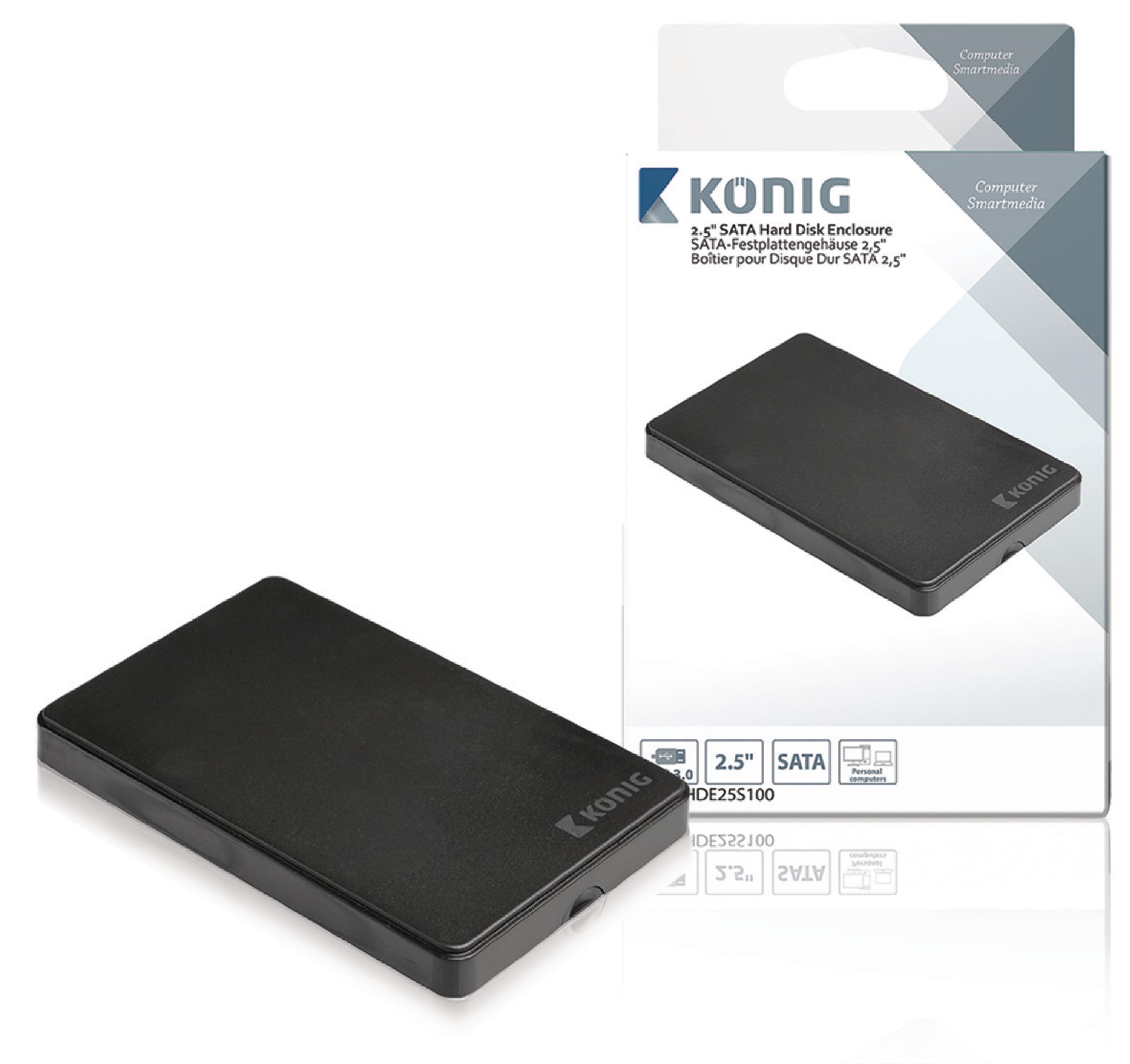 """Externí box König pro pevný disk 2.5"""" SATA USB 3.0, CSU3HDE25S100"""